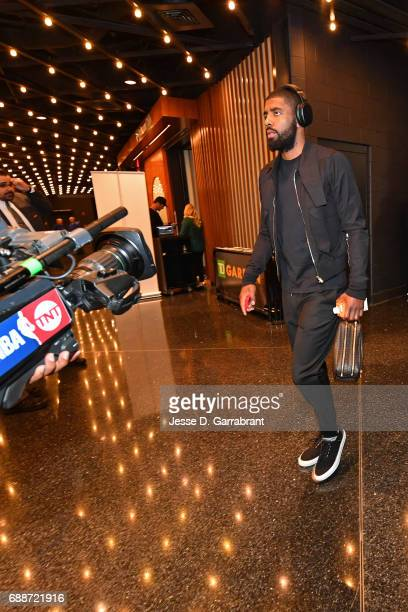 Kyrie Irving of the Cleveland Cavaliers arrives at the arena before Game Five of the Eastern Conference Finals against the Boston Celtics during the...