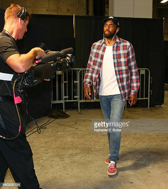 Kyrie Irving of the Cleveland Cavaliers arrives before Game Five of the 2016 NBA Finals against the Golden State Warriors on June 13 2016 at ORACLE...