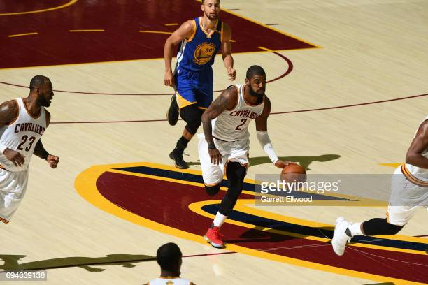 Kyrie Irving of the Cleveland Cavaliers brings the ball up court against the Golden State Warriors in Game Four of the 2017 NBA Finals on June 9 2017...