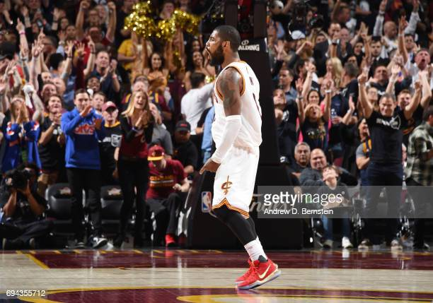 Kyrie Irving of the Cleveland Cavaliers celebrates against the Golden State Warriors in Game Four of the 2017 NBA Finals on June 9 2017 at Quicken...