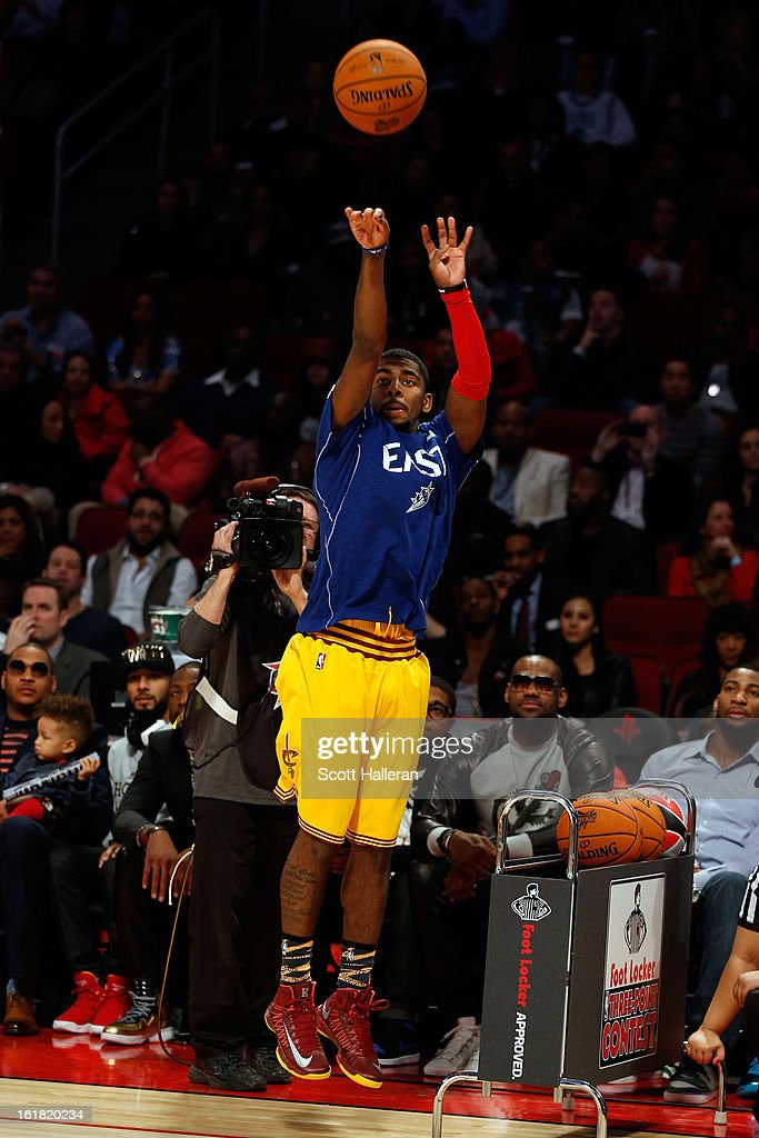 Kyrie Irving of the Cleveland Cavaliers competes during the Foot Locker Three-Point Contest part of 2013 NBA All-Star Weekend at the Toyota Center on February 16, 2013 in Houston, Texas.