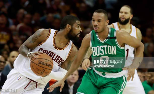 Kyrie Irving of the Cleveland Cavaliers drives against Avery Bradley of the Boston Celtics in the first half during Game Four of the 2017 NBA Eastern...