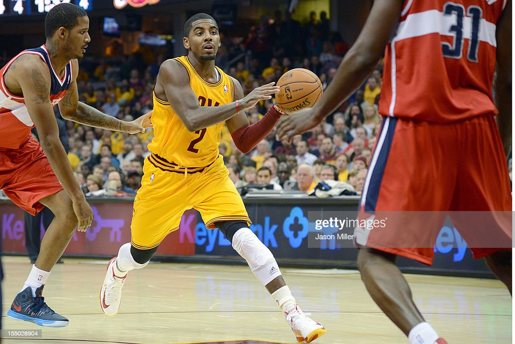 Kyrie Irving #2 of the Cleveland Cavaliers drives the lane during the second half against the Washington Wizards at Quicken Loans Arena on October 30, 2012 in Cleveland, Ohio. The Cavaliers defeated the Wizards 94-84.