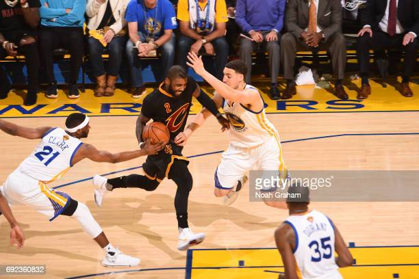 Kyrie Irving of the Cleveland Cavaliers drives to the basket against the Golden State Warriors in Game Two of the 2017 NBA Finals on June 4 2017 at...