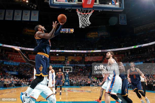 Kyrie Irving of the Cleveland Cavaliers goes for the lay up during the game against the Oklahoma City Thunder on February 9 2017 at Chesapeake Energy...