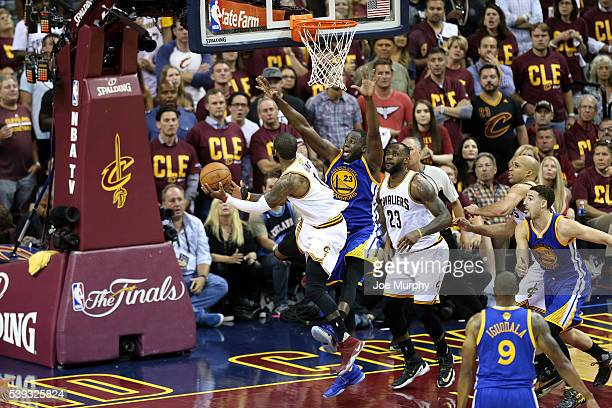 Kyrie Irving of the Cleveland Cavaliers goes for the layup during the game against the Golden State Warriors in Game Four of the 2016 NBA Finals on...