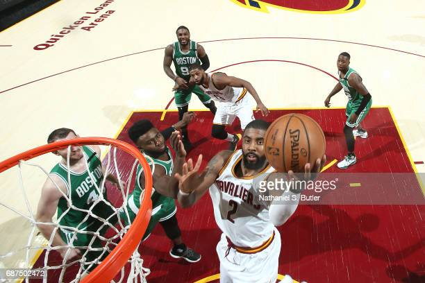 Kyrie Irving of the Cleveland Cavaliers goes to the basket against the Boston Celtics in Game Four of the Eastern Conference Finals during the 2017...