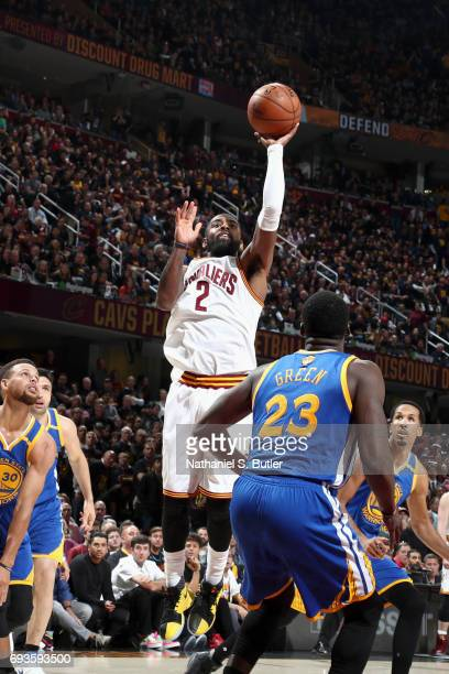 Kyrie Irving of the Cleveland Cavaliers goes to the basket against the Golden State Warriors in Game Three of the 2017 NBA Finals on June 7 2017 at...