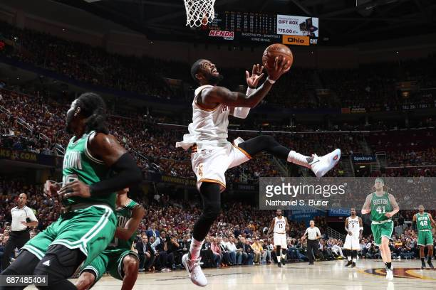 Kyrie Irving of the Cleveland Cavaliers goes up for a lay up against the Boston Celtics in Game Four of the Eastern Conference Finals during the 2017...