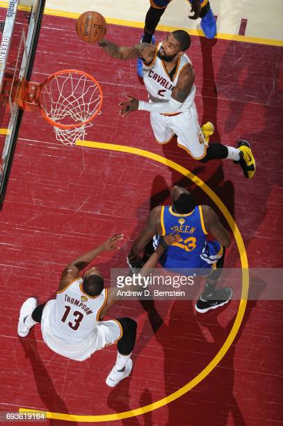 Kyrie Irving of the Cleveland Cavaliers goes up for a lay up against the Golden State Warriors in Game Three of the 2017 NBA Finals on June 7 2017 at...