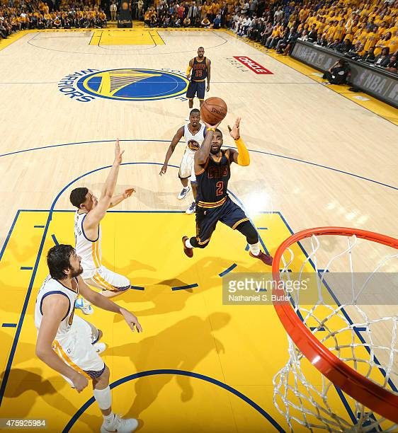 Kyrie Irving of the Cleveland Cavaliers goes up to shoot during Game One of the 2015 NBA Finals on June 4 2015 at Oracle Arena in Oakland California...