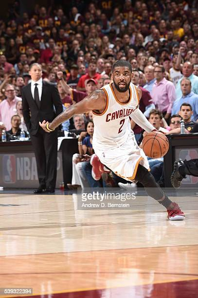 Kyrie Irving of the Cleveland Cavaliers handles the ball against the Golden State Warriors during Game Four of the 2016 NBA Finals at The Quicken...