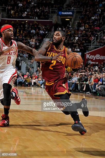 Kyrie Irving of the Cleveland Cavaliers handles the ball against the Houston Rockets on November 1 2016 at Quicken Loans Arena in Cleveland Ohio NOTE...