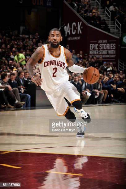 Kyrie Irving of the Cleveland Cavaliers handles the ball against the Utah Jazz during the game on March 16 2017 at Quicken Loans Arena in Cleveland...