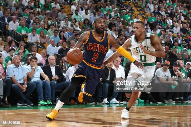 Kyrie Irving of the Cleveland Cavaliers handles the ball against the Boston Celtics in Game One of the Eastern Conference Finals during the 2017 NBA...