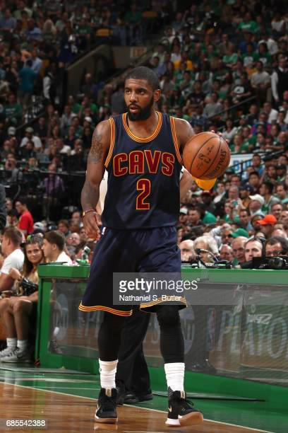 Kyrie Irving of the Cleveland Cavaliers handles the ball against the Boston Celtics in Game Two of the Eastern Conference Finals during the 2017 NBA...