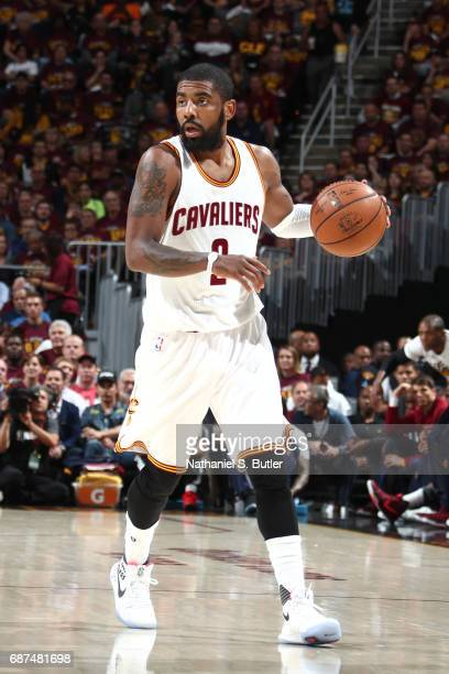 Kyrie Irving of the Cleveland Cavaliers handles the ball against the Boston Celtics in Game Four of the Eastern Conference Finals during the 2017 NBA...