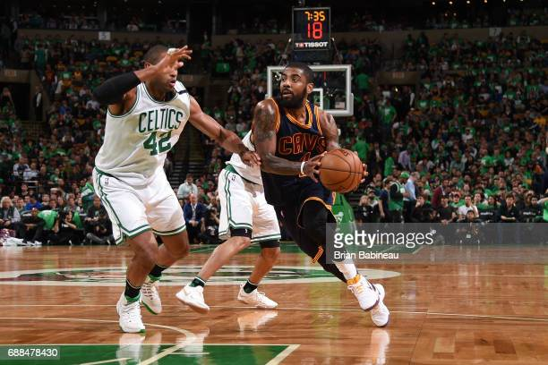 Kyrie Irving of the Cleveland Cavaliers handles the ball against the Boston Celtics in Game Five of the Eastern Conference Finals of the 2017 NBA...