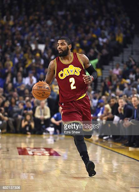 Kyrie Irving of the Cleveland Cavaliers in action against the Golden State Warriors at ORACLE Arena on January 16 2017 in Oakland California NOTE TO...