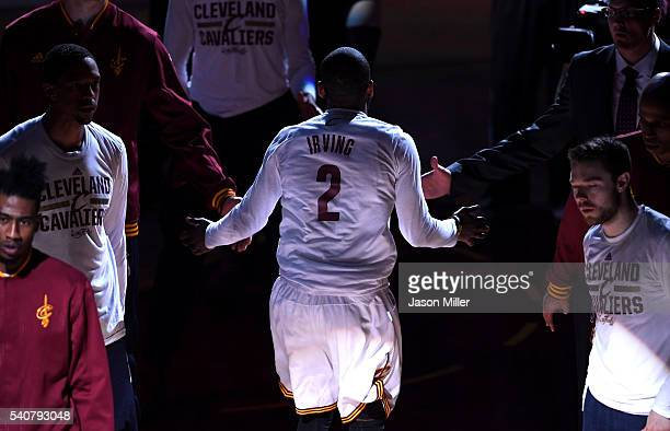 Kyrie Irving of the Cleveland Cavaliers is introduced prior to Game 6 of the 2016 NBA Finals against the Golden State Warriors at Quicken Loans Arena...