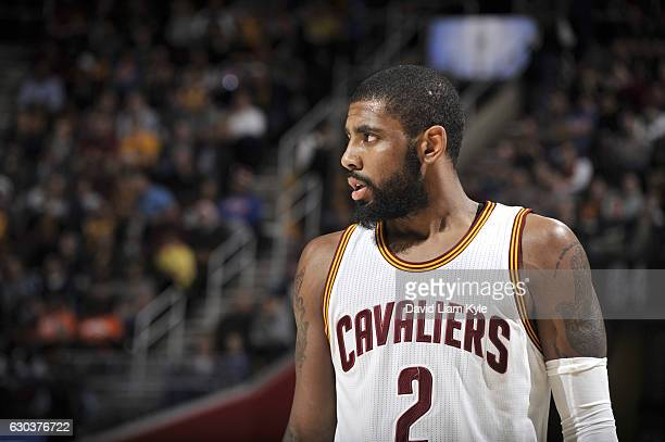 Kyrie Irving of the Cleveland Cavaliers looks on during the game against the Milwaukee Bucks on December 21 2016 at Quicken Loans Arena in Cleveland...