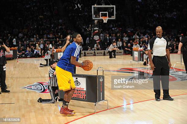 Kyrie Irving of the Cleveland Cavaliers participates during 2013 Foot Locker ThreePoint Contest on State Farm AllStar Saturday Night as part of 2013...