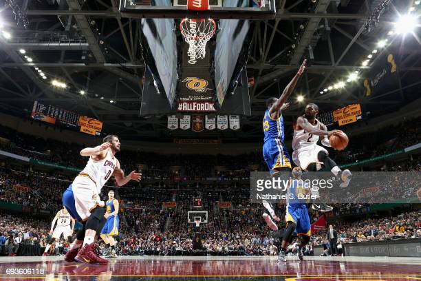 Kyrie Irving of the Cleveland Cavaliers passes the ball against the Cleveland Cavaliers in Game Three of the 2017 NBA Finals on June 7 2017 at...