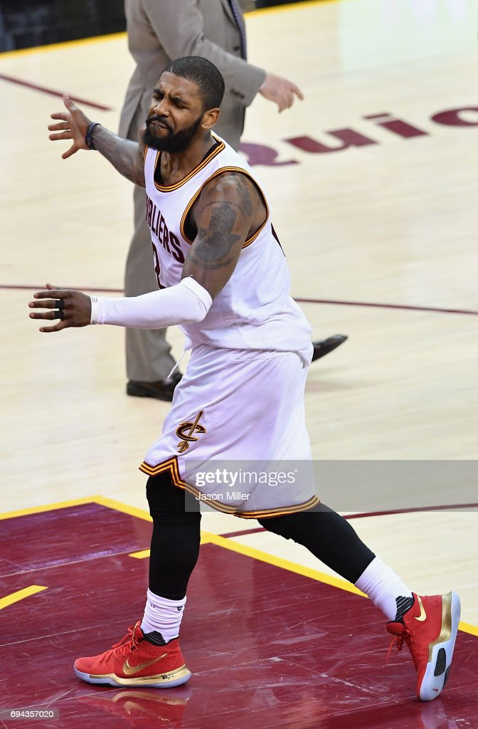 Kyrie Irving #2 of the Cleveland Cavaliers reacts after a play in the fourth quarter against the Golden State Warriors in Game 4 of the 2017 NBA Finals at Quicken Loans Arena on June 9, 2017 in Cleveland, Ohio.