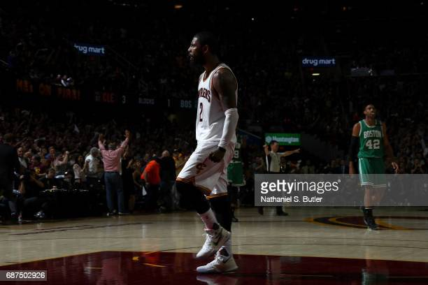 Kyrie Irving of the Cleveland Cavaliers reacts during the game against the Boston Celtics in Game Four of the Eastern Conference Finals during the...