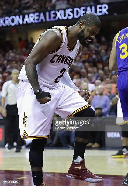 Kyrie Irving of the Cleveland Cavaliers reacts during the second half against the Golden State Warriors in Game 4 of the 2016 NBA Finals at Quicken...