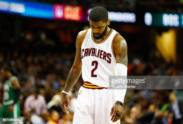 Kyrie Irving of the Cleveland Cavaliers reacts in the first half against the Boston Celtics during Game Four of the 2017 NBA Eastern Conference...