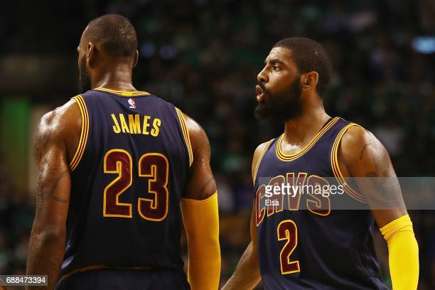 Kyrie Irving of the Cleveland Cavaliers reacts in the first half against the Boston Celtics during Game Five of the 2017 NBA Eastern Conference...