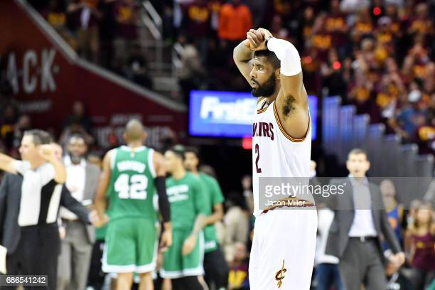 Kyrie Irving of the Cleveland Cavaliers reacts late in their 108 to 111 loss ot the Boston Celtics during Game Three of the 2017 NBA Eastern...