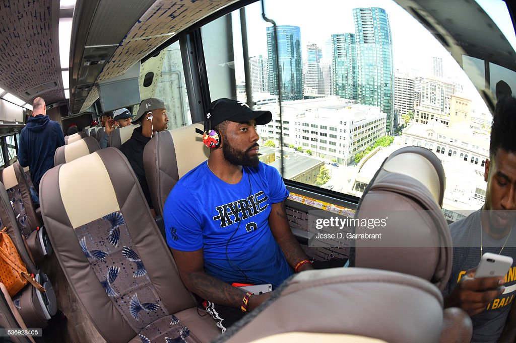 Kyrie Irving #2 of the Cleveland Cavaliers relaxes on the bus on his way to practice and media availability as part of the 2016 NBA Finals on June 1, 2016 in San Francisco, California.
