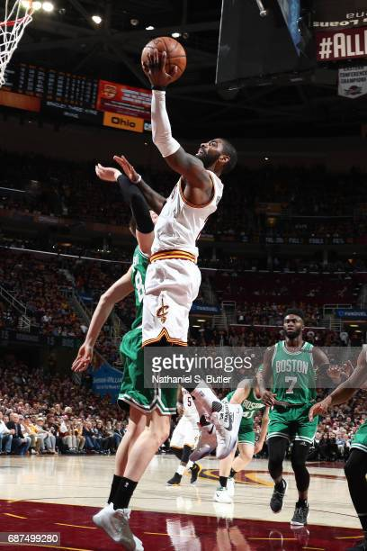 Kyrie Irving of the Cleveland Cavaliers shoots a lay up against the Boston Celtics in Game Four of the Eastern Conference Finals during the 2017 NBA...