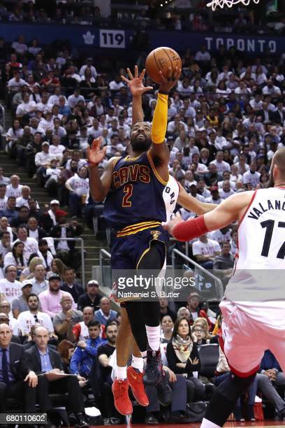 Kyrie Irving of the Cleveland Cavaliers shoots a lay up during the game against the Toronto Raptors in Game Four of the Eastern Conference Semifinals...