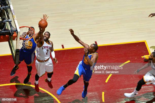 Kyrie Irving of the Cleveland Cavaliers shoots a lay up during the game against the Golden State Warriors in Game Four of the 2017 NBA Finals on June...