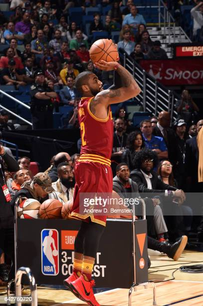 Kyrie Irving of the Cleveland Cavaliers shoots a threepointer during the JBL ThreePoint Contest during State Farm AllStar Saturday Night as part of...