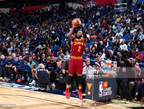 Kyrie Irving of the Cleveland Cavaliers shoots during the JBL ThreePoint Contest during State Farm AllStar Saturday Night as part of the 2017 NBA...