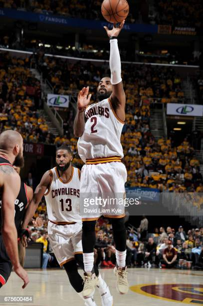 Kyrie Irving of the Cleveland Cavaliers shoots the ball against the Toronto Raptors during Game One of the Eastern Conference Semifinals of the 2017...