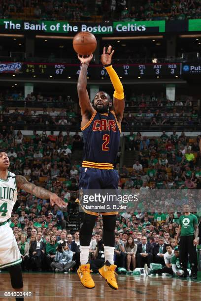 Kyrie Irving of the Cleveland Cavaliers shoots the ball against the Boston Celtics in Game One of the Eastern Conference Finals during the 2017 NBA...