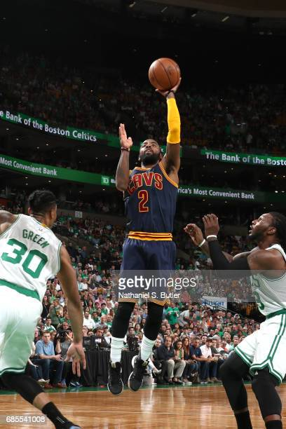 Kyrie Irving of the Cleveland Cavaliers shoots the ball against the Boston Celtics in Game Two of the Eastern Conference Finals during the 2017 NBA...