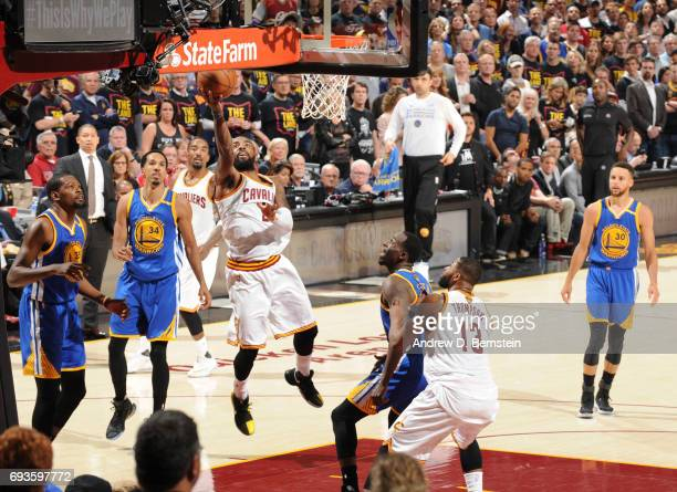 Kyrie Irving of the Cleveland Cavaliers shoots the ball against the Golden State Warriors in Game Three of the 2017 NBA Finals on June 7 2017 at...