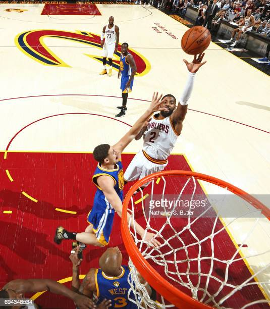 Kyrie Irving of the Cleveland Cavaliers shoots the ball against the Golden State Warriors in Game Four of the 2017 NBA Finals on June 9 2017 at...