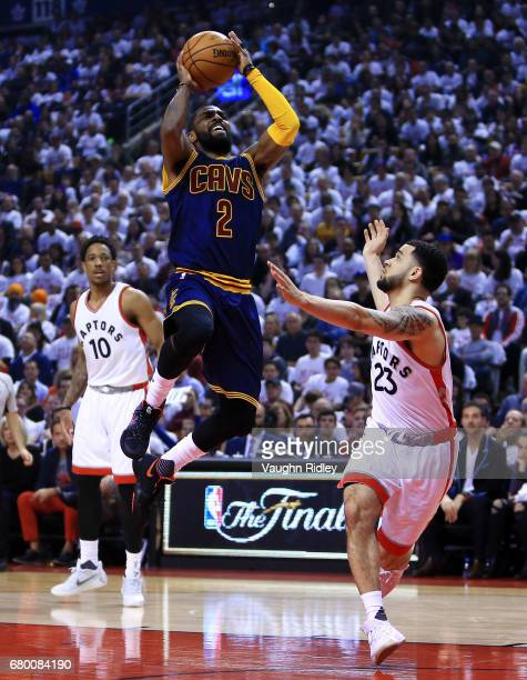Kyrie Irving of the Cleveland Cavaliers shoots the ball as Fred VanVleet of the Toronto Raptors defends in the first half of Game Four of the Eastern...