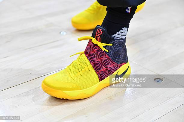 Kyrie Irving of the Cleveland Cavaliers showcases his sneakers against the Philadelphia 76ers at Wells Fargo Center on November 27 2016 in...