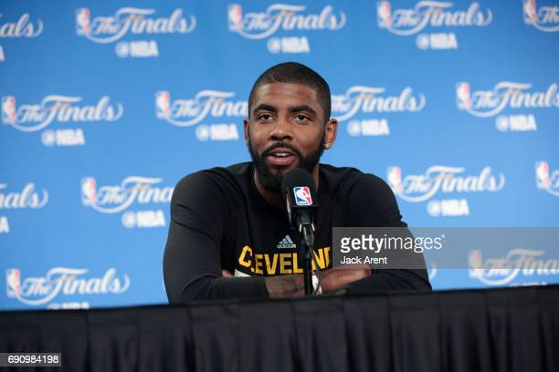 Kyrie Irving of the Cleveland Cavaliers speaks to the media during practice and media availability as part of the 2017 NBA Finals on May 31 2017 at...