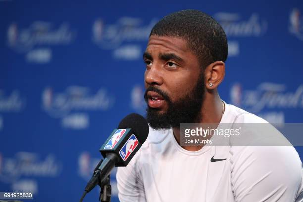 Kyrie Irving of the Cleveland Cavaliers speaks to the media during media availability as part of the 2017 NBA Finals on June 11 2017 at the Warriors...