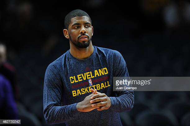 Kyrie Irving of the Cleveland Cavaliers warms up before a game against the Los Angeles Clippers at STAPLES Center on January 16 2015 in Los Angeles...