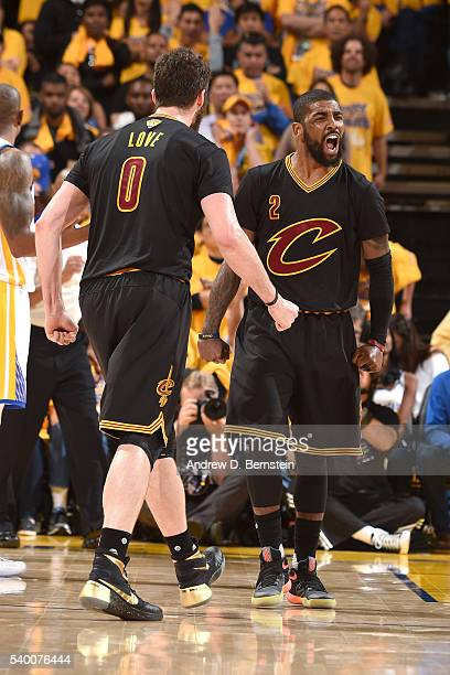 Kyrie Irving of the Cleveland Cavaliers yells as he celebrates during the game against the Golden State Warriors during Game Five of the 2016 NBA...